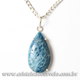 Pingente Gota 28 mm Apatita Azul Natural Garra Prata 950