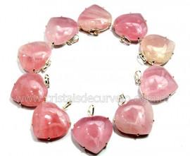 05 Pingente Coração Quartzo Rosa Prata 950 Garra REFF CP9001