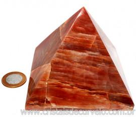 Pirâmide GRANDE Pedra Aragonita Vermelha Natural Queops 119034