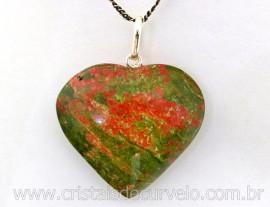 Pingente Coração Pedra Unakita natural Castoação Prata 950 Pino e Perinha