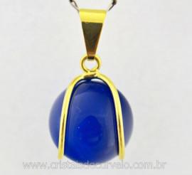 Pingente Bolinha Agata Azul Envolto a Pedra Montagem Dourada