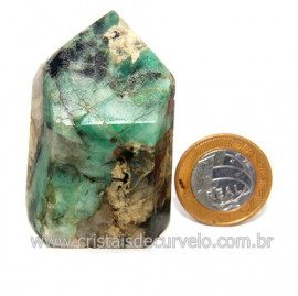Ponta Esmeralda Incrustado no Xisto Pedra Natural Cod 118302