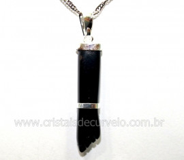 Figa Pingente Pedra Obsidiana Negra Banho Prateado Reff PF4212