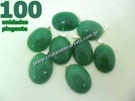 100 Pingente Cabochão QUARTZO VERDE Pedra Natural Castoação Pino Banhado Prata