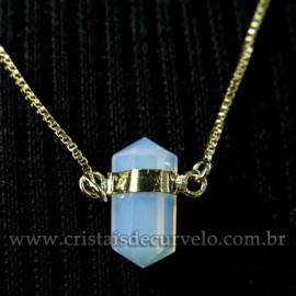 Colar Pedra da Lua Bi Ponta Sextavado Envolto Dourado 113147