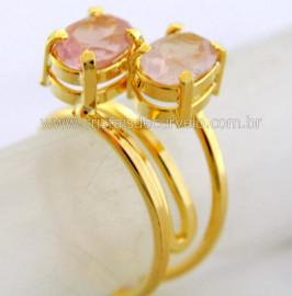 Anel 2 Pedras Quartzo Rosa Gemas Facetado Aro Dourado Ajustavel Cod 27.3