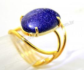 Anel Pedra Estrela Cabochão Oval Pequeno Dourado REFF CP9681