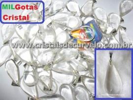 1.000 Gota CRISTAL Pedra Quartzo Pingente Banhado Prata