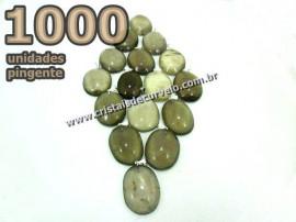 1000 Pingente Cabochão QUARTZO FUMÊ Pedra Natural Pino Banho Prata