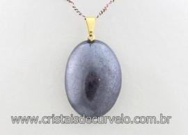 Pingente Cabochão Hematita Pedra Natural Pino Dourado