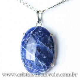 Pingente Cabochão Pedra Sodalita Azul Natural Garra Prata 950