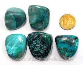 05 Crisocola Rolada Pedra Natural Mineral Nativo do Cobre para Colecionador Ref 47.3