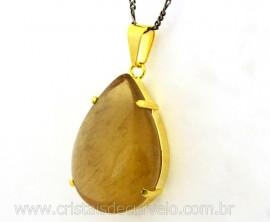 Pingente Gota CITRINO NATURAL Pedra de Garimpo Montagem Garra Dourado