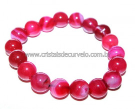 Pulseira Bolinha Pedra Agata Rosa Rolada Fio Silicone PB7197