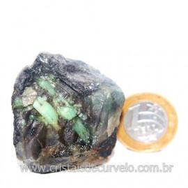 Esmeralda Canudo Incrustado Matriz Xisto Pedra Natural Cod 121316