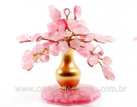 Árvore Da Felicidade Pedra Rolada Quartzo Rosa REFF AJ5949