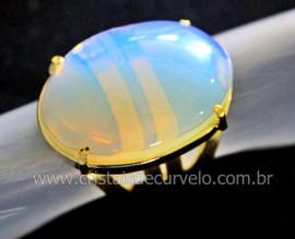Anel Pedra Da Lua Opalina Cabochao Oval Banhado Flash Dourado Aro Ajustavel