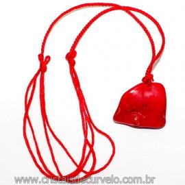 Colar Fio Trançado com Pedra Coral Vermelho Reff 109910