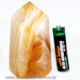 Ponta Cristal Hematóide Pedra com Rajas Amarelas Cod 110689