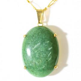 Pingente Extra Cabochao Pedra Quartzo Verde Montagem Garra Dourado
