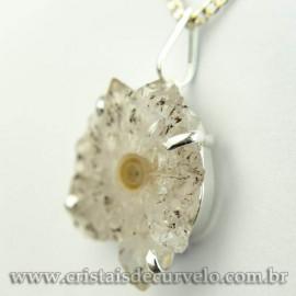 Pingente Flor de Ametista Pedra Natural Garra Prateado 120619