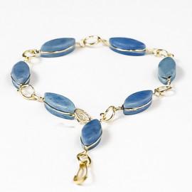 Pulseira Navete Pedra Quartzo Azul Ranhurado Dourado 113116