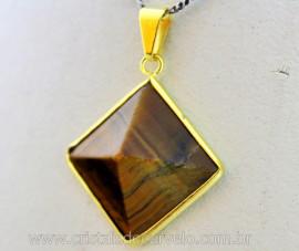 Pingente Piramide Pedra Olho de Tigre Castoação Envolto Flash Dourado