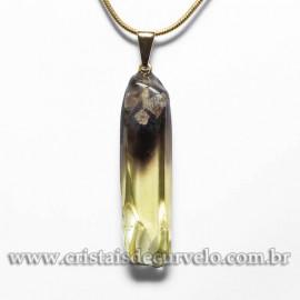 Pingente Green Gold Natural Pedrinha 35mm Rolado Pino Dourado