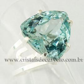 Anel Pedra Topazio Azul Facetado Prata 950 Ajustavel 112449
