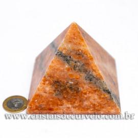 Pirâmide GRANDE Pedra Calcita Laranja Natural Queops cod 120743