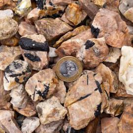 03kg Cascalho Turmalina Incrustada no Feldspato Pedra Pra Orgonite