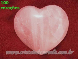Lembrança de Casamento 100 Corações Quartzo Rosa Tamanho 5 cm ATACADO