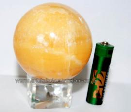 Esfera Calcita Mexicana Pedra Natural de Garimpo Lapidada Cod EM2648