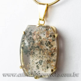 Pingente Pedra Cristal Lodolita Baguette Garra Dourada 112945