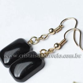 Brinco Retangular Pedra Obsidiana Negra Montagem Anzol Dourado