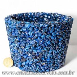 Vaso Resina Pedra Seixo Tingido Azul 9.5cm Rolada Natural