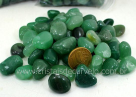Quartzo Verde Rolado T Médio Pacotinho 200Gr Boa Cor de Verde Boa Qualidade