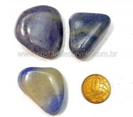 03 Quartzo Azul ou Aventurina Azul Pedra Rolado Para Mandala Pingente Colar Ref 31.5