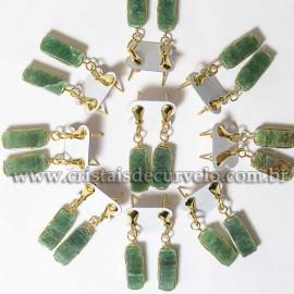 05 Brinco Pedra Quartzo Verde Retangulo Ranhurado Dourado ATACADO