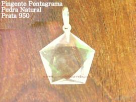 Pentagrama Pingente Pedra Cristal Montagem Prata 950