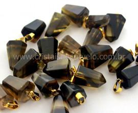 Pingente Pontinha Pedra Quartzo Bi Color Dourado REFF PD8744