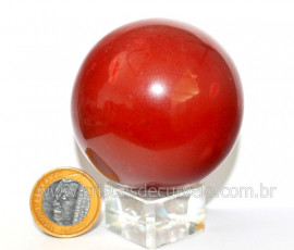 Esfera Jaspe Vermelho Pedra Natural Lapidado Manual Cod EJ8835