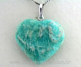 Pingente Coração Pedra Amazonita Natural Castoação Prata 950 Pino e Perinha