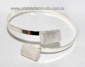Bracelete de Selenita Ajustável Prateado Reff BS5855