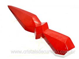 Adaga ou Athame Faca Pedra Natural Jaspe Vermelho Cod AF8025