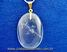 Pingente Cabochão CRISTAL Pedra Natural Castoação Pino Dourado