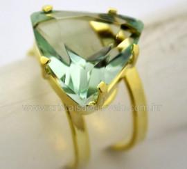 Anel Obsidiana Verde Trillion Facetado Banho Dourado Aro Ajustavel REF 20.6