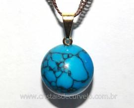 Pingente Bolinha Pedra Howlita Azul Pino Dourada