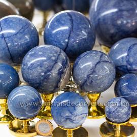 Lote 17  Esfera Bola Quartzo Azul Comum Qualidade ATACADO 125192 LJ FISCA