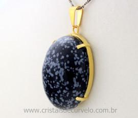 Pingente Extra Cabochao Pedra Obsidiana Flocos de Neve Montagem Garra Dourado